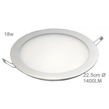 Panneau à LED encastrable rond 18W Blanc chaud 22,5cm 43/60V