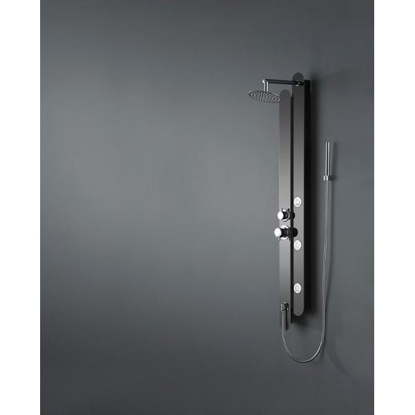 colonne de douche baln o en inox noir finition black. Black Bedroom Furniture Sets. Home Design Ideas