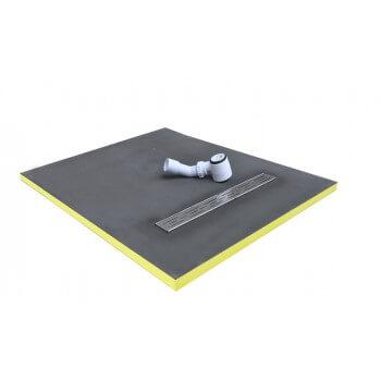 receveur de douche 90x90x3cm écoulement linéaire prêt à carreler avec siphon + Grille en inox
