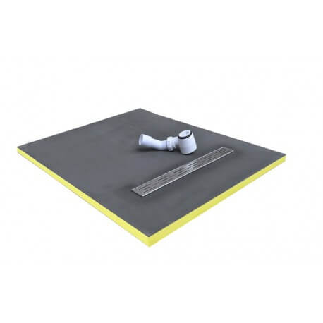 shower tray 90x90x3cm ready to tile with siphon + grid stainless steel linear flow