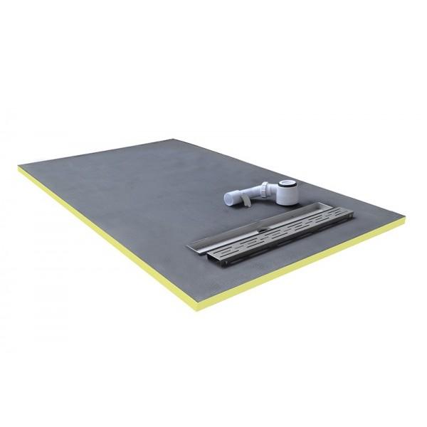 receveur de douche 90x90x3cm coulement lin aire pr t carreler avec siphon grille en inox. Black Bedroom Furniture Sets. Home Design Ideas