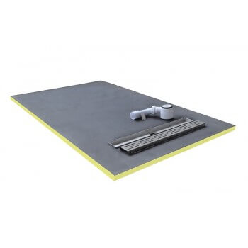 shower tray 150x90x3cm ready to tile with siphon + grid stainless steel linear flow