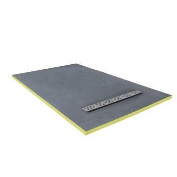 Plato de ducha 150 x 90 x 3 cm listo para azulejo con sifón + parrilla acero inoxidable flujo lineal
