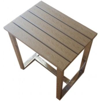 Hammam Hocker für Dusche aus Edelstahl und geharztes Holz
