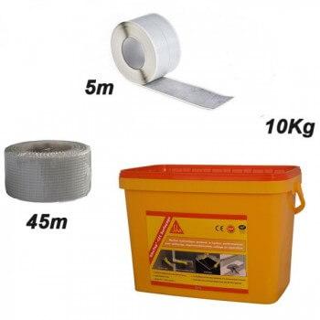 SIKATOP 121 Dichtungskit SIKATOP 121 (10 kg) + Dichtungsklebeband  + Verstärkungsband aus Fiberglas