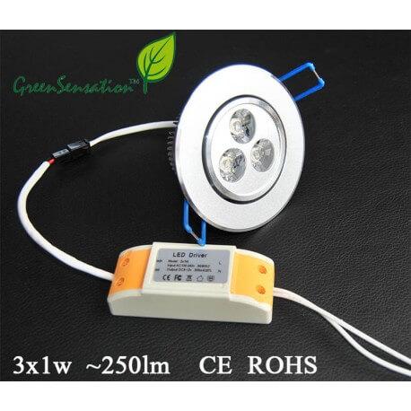 Built-in and adjustable spot for ceiling lights Led 3 W - 250 Lumens + 12v transformer