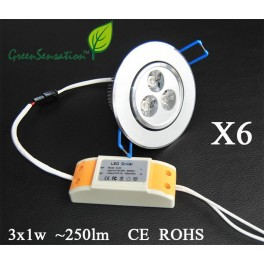 SET of 6 orientable Led spot recessed with transformer 12 V included for ceiling light