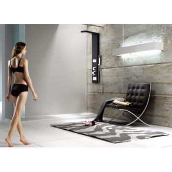 Bodyclean - Colonne de douche balnéothérapie 2 jets en aluminium finition noire noire 135 X 25cm A201