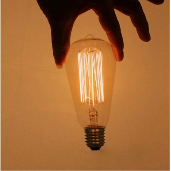 Set of 3 vintage 40 W E27 apparent filament incandescent bulbs