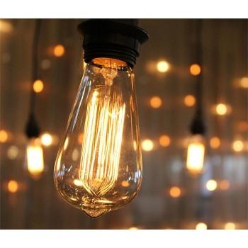 Lot of 3 x lamps vintage bulb Edison E27 ST64