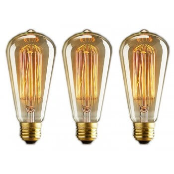 Conjunto de 3 lámpara vintage lámparas E14 Edison - ST48