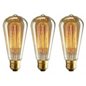 Set di 3 lampade vintage bulbo Edison E14 - ST48