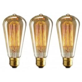 Lot of 3 vintage bulb Edison E14 ST48 tube