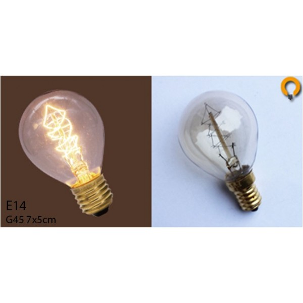 ampoule vintage bulb edison e14 g45 spirale desineo. Black Bedroom Furniture Sets. Home Design Ideas