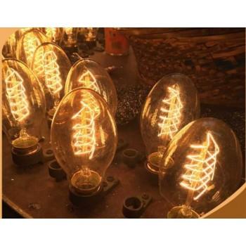 Satz von 3 Lampen / Glühbirnen Glühbirne Edison E27 BT55 Vintage