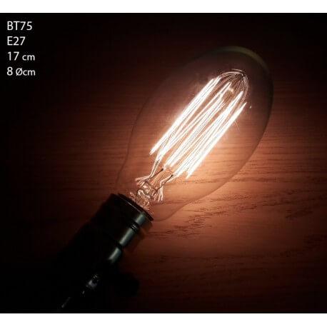 Vintage bulb incandescent bulb Edison E27 BT75 apparent filaments