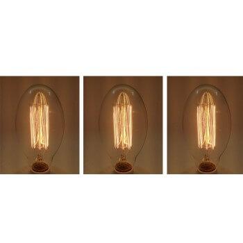 Set di 3 vintage lampadina Edison E27 BT75