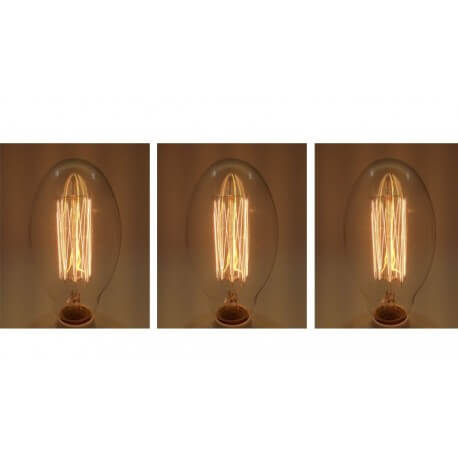 Set of 3 vintage bulb Edison E27 BT75