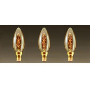 Sacco di lampadina ad incandescenza dell'annata 3 lampadine Edison E14 C35