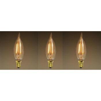 Set of 3 vintage LED E14 style bulb edison C35