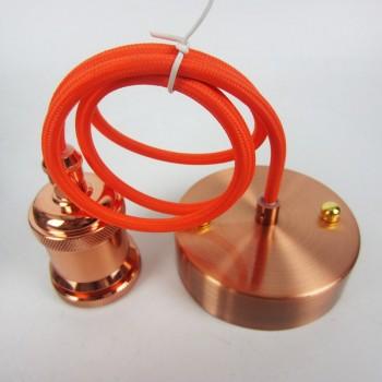plafonnier tissé orange avec douille cuivrée