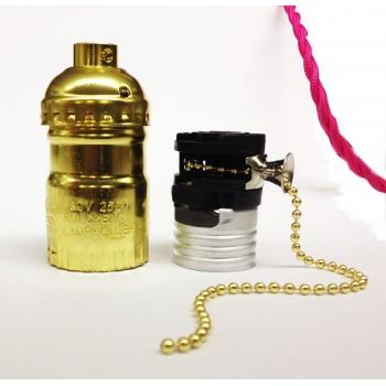 Lote de 3 mangas vintage de oro tipo E27 con interruptor de cadena