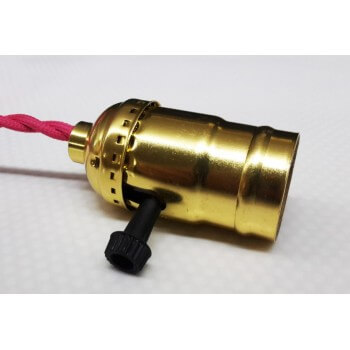 Socket type E27 with rotary switch vintage Gold