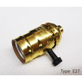 Douille Gold de type E27 vintage avec interrupteur rotatif