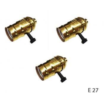 Conjunto de 3 vintage oro casquillos E27 con interruptor giratorio