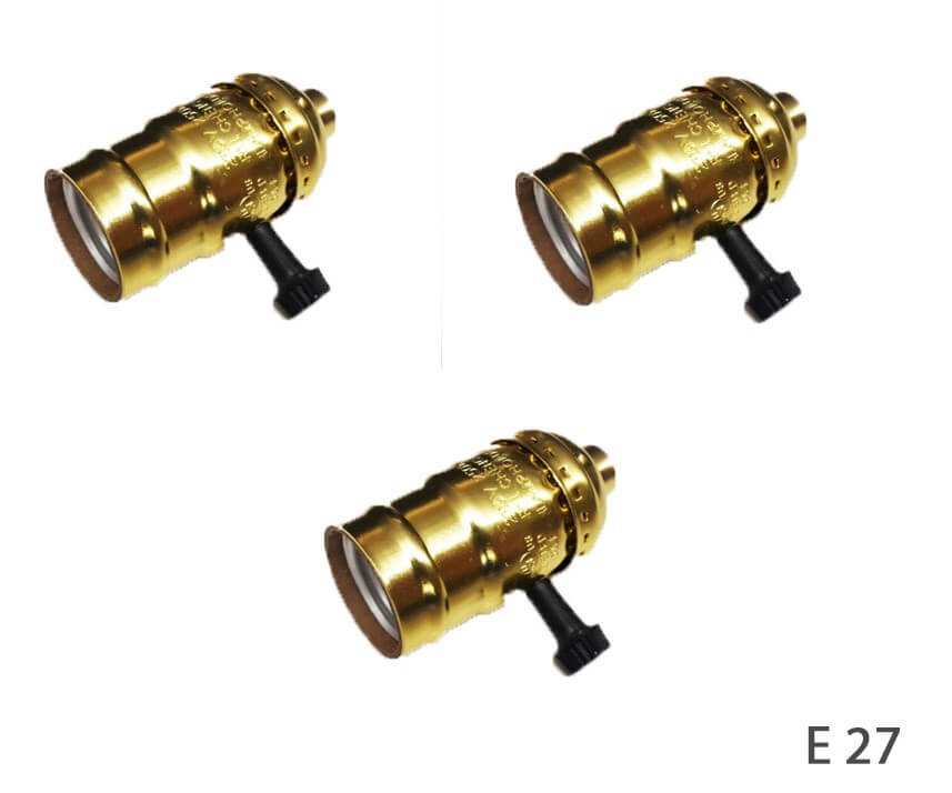 Douille de type E27 en bakelite vintage avec interrupteur rotatif et rondelle pour abat-jour