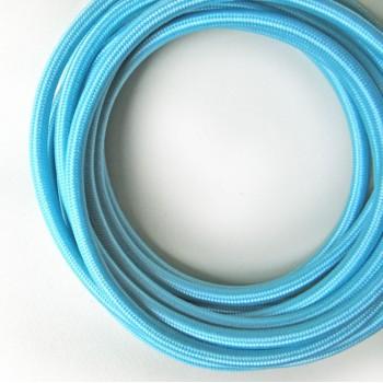 Fil électrique tissé Bleu vintage look retro en tissu