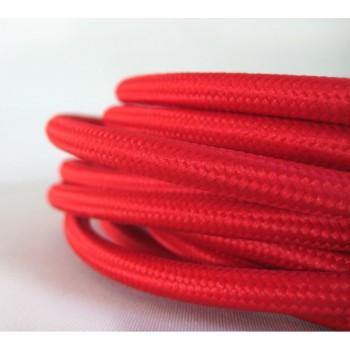 Fil électrique tissé de couleur Rouge vintage look retro en tissu