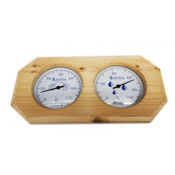 Thermometer hygrometer for Sauna white pine
