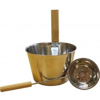 Eimer und Schöpfkelle Emendo für Sauna 4,5-Liter-Edelstahl-Metall