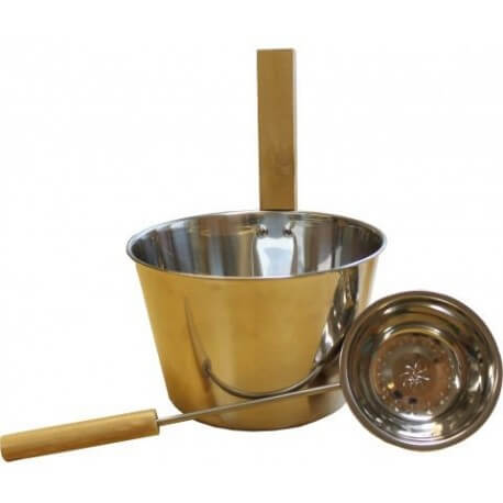 Bucket and ladle stainless metal Emendo for Sauna