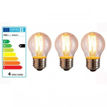 Lote de 3 Bombillas LED E27 G45 4w vintage estilo bulbo de Edison
