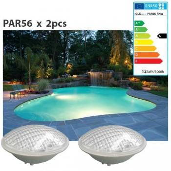 Set of 2 light bulbs of 20w cool white led PAR56 swimming pool