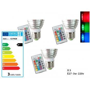 Lot de 3 Ampoules à LED Couleur RGB avec télécommande