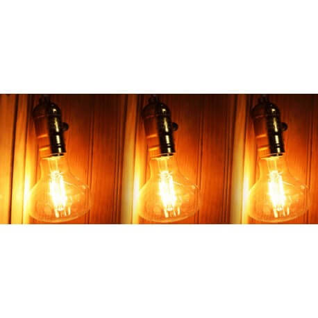 Set of 3 LED E27 4w vintage style Edison R80
