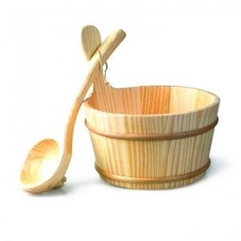 kit 3 accessoires sauna Seau+louche+Sablier+Thermomètre
