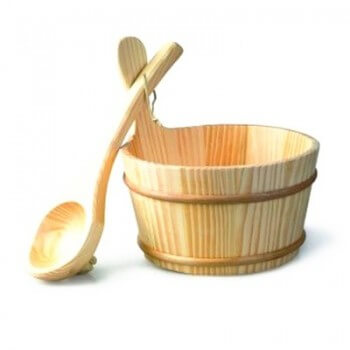 Kit 4 sauna accessories Seau-louche-Sablier-Thermometer-essence eucalyptus harvia 400ml