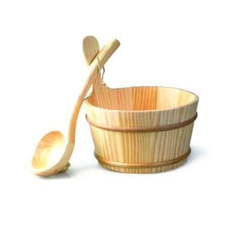 Kit 4 Accessories sauna bucket + ladle + hourglass + aroma Harvia Eucalyptus + thermometer