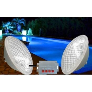 Confezione da 2 lampadina colore RGB PAR56 per piscina + remoto a lungo raggio