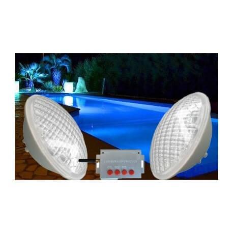 Pack of 2 bulb PAR56 RGB color for pool + long range remote