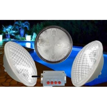 Kit éclairage piscine LED couleur 3 ampoules avec télécommande longue portée