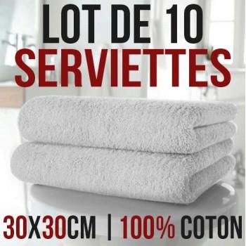 Lote de 10 toallas de mano 100% algodón 30 x 30 cm