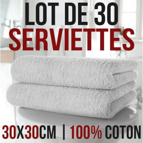 Lot of 30 30 x 30 cm 100% cotton hand towels