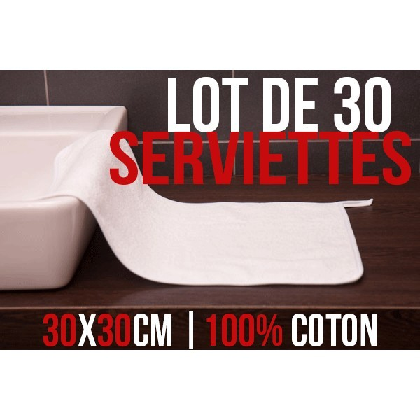 lot de 30 serviettes pour les mains 30 x 50 cm 100 coton. Black Bedroom Furniture Sets. Home Design Ideas