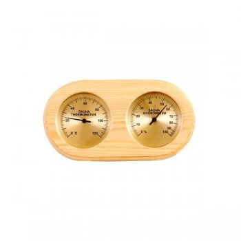 Thermometer, hygrometer, wooden sauna golden background