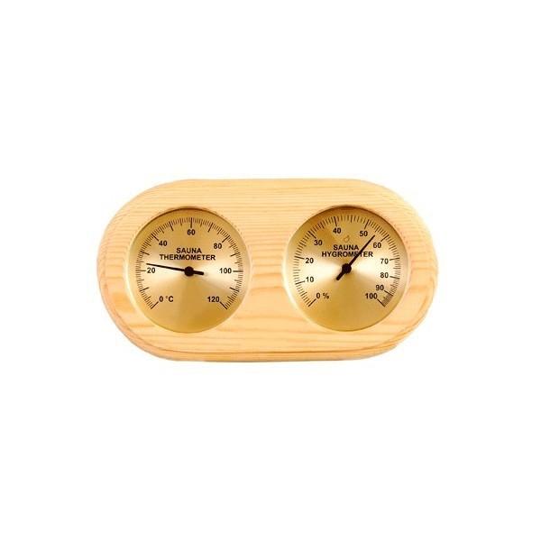 Thermomètre , Hygromètre en Bois pour sauna fond doré  ~ Thermometre Bois